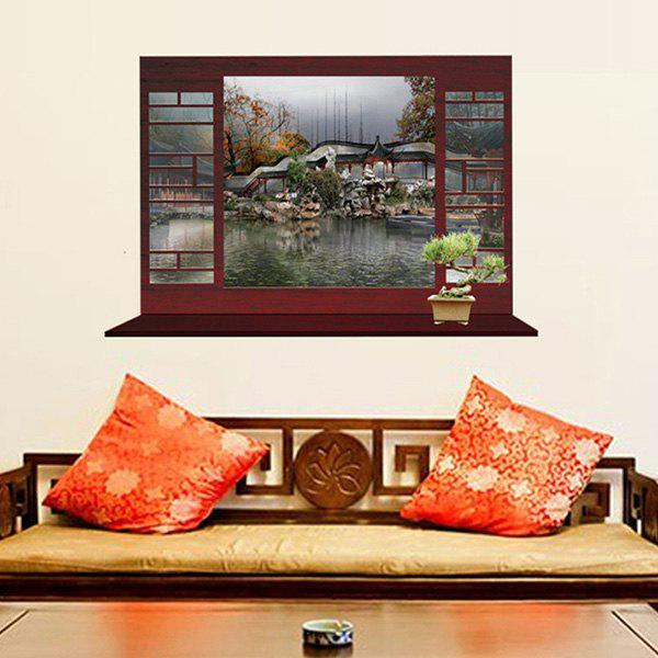 Chic Chinese-Style Autumn View Pattern Window Shape Removeable 3D Wall Sticker - COLORMIX