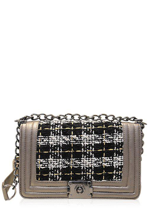 Trendy Splicing and Chains Design Women's Crossbody Bag - CHAMPAGNE