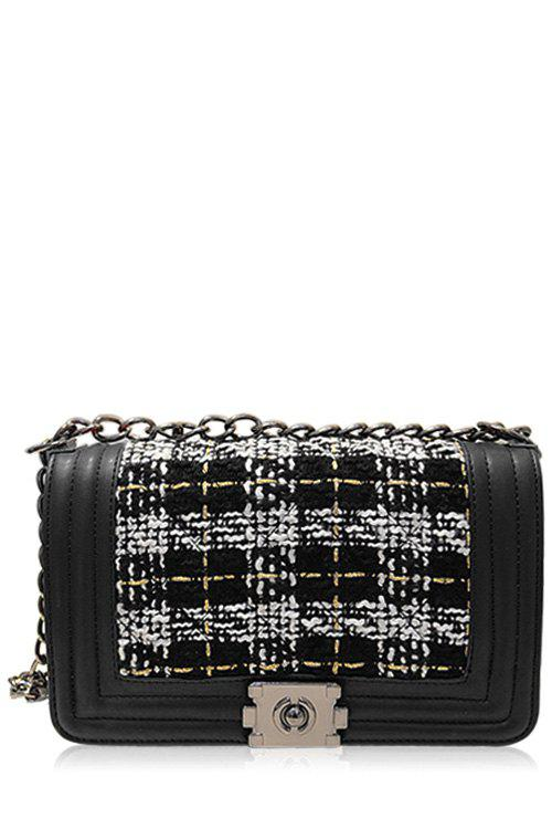 Trendy Splicing and Chains Design Women's Crossbody Bag - BLACK