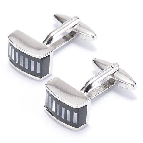 Pair of Stylish Short Stripe Pattern Cufflinks For Men - SILVER