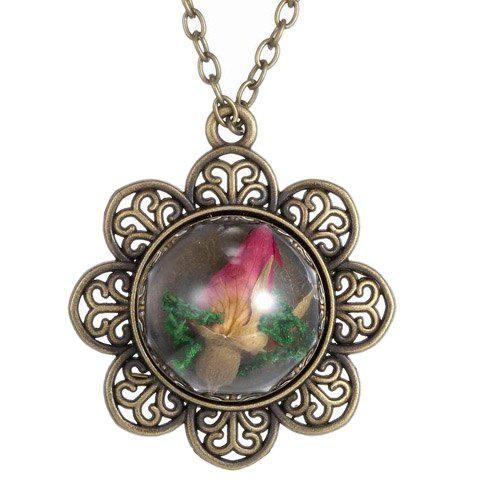 Retro Floral Shape Sweater Chain With Dry Flower For Women