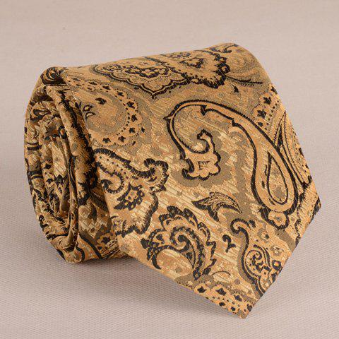 Stunning Yellow Retro Paisley Jacquard 8CM Width Tie For Men