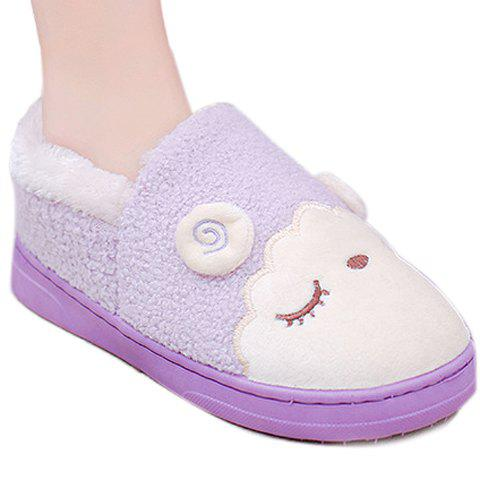 Leisure Embroidery and Cartoon Pattern Design House Slippers For Women - PURPLE 37