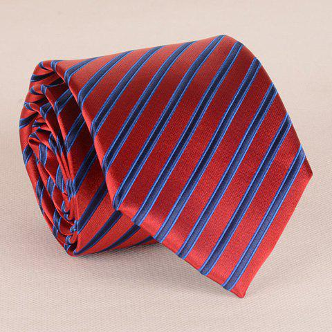 Stunning Blue Stripe Pattern 8CM Width Claret Tie For Men