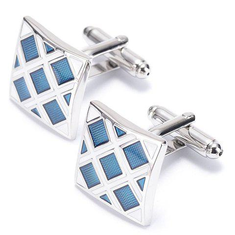 Pair of Stylish Lattice Quadrate Men's Cufflinks - SILVER