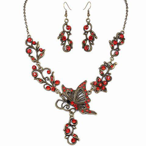 A Suit of Stylish Rhinestone Butterfly Hollow Out Necklace and Earrings For Women - DEEP RED