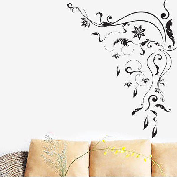 High Quality Flower Rattan Pattern Removeable Waterproof Wall Sticker - BLACK