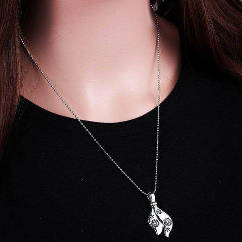 Stylish Snowflake and Floral Carved Pendant Necklace For Women - SILVER