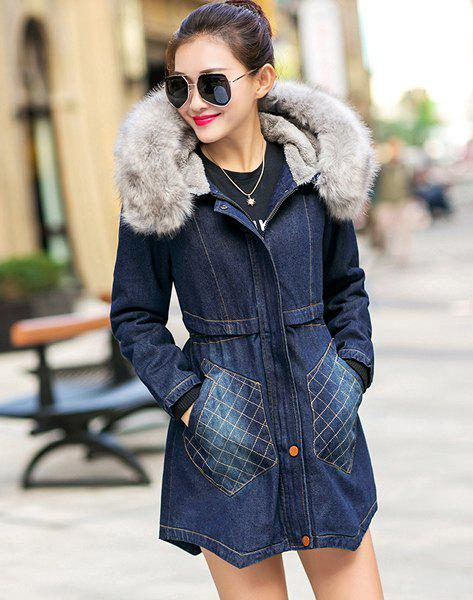 Stylish Hooded Long Sleeve Faux Fur Women's Denim Coat - BLUE 3XL