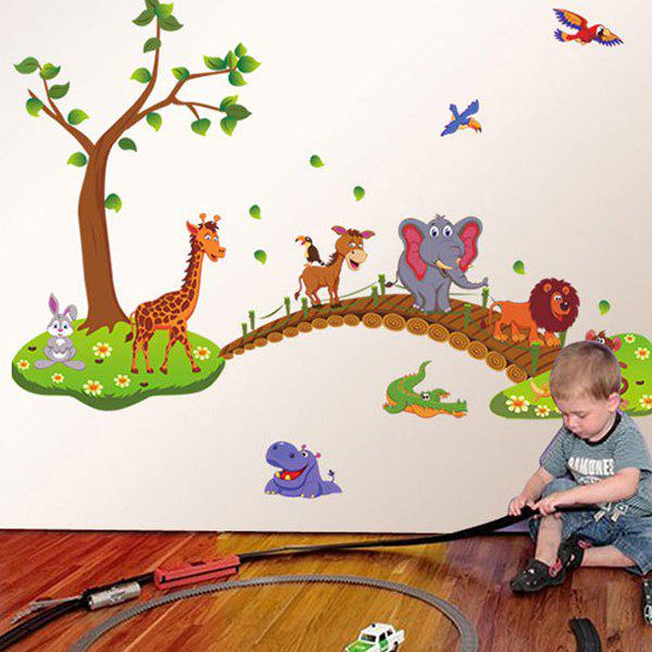 High Quality Animals Walking Over Bridge Pattern Removeable Waterproof Wall StickerHome<br><br><br>Color: COLORMIX