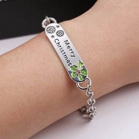 Stylish Merry Christmas Snowflake Leaf ID Bracelet For Women - SILVER