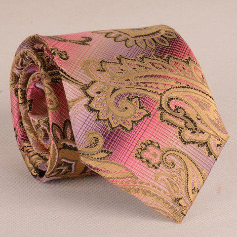 Fashionable Paisley Jacquard 8CM Width Purple and Pink Gradient Color Men's Tie - COLORMIX