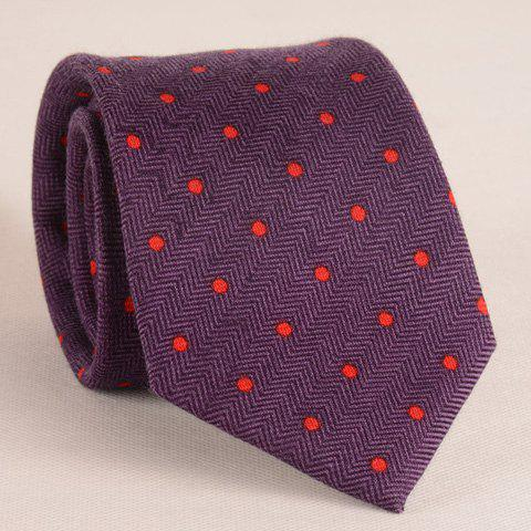 Stylish Red Polka Dot Jacquard 8CM Width Men's Tie - PURPLE