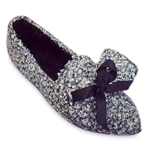 Ladylike Bow and Solid Colour Design Flat Shoes For Women - GRAY 37