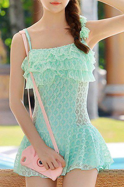 Stylish Strappy Lace Ruffled One-Piece For Women - GREEN M