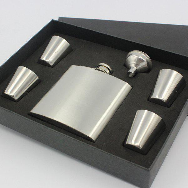 Portable Solid Color 6oz Stainless Steel Flask Alcohol Flagon + 4 Cups + Hopper Set - SILVER