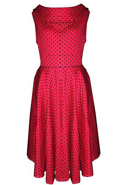 Vintage Round Neck Sleeveless Polka Dot Women's Dress - RED L