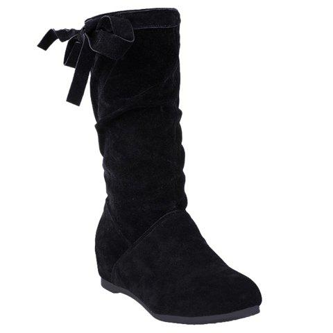 Sweet Slip-On and Suede Design Mid-Calf Boots For Women - 35 BLACK