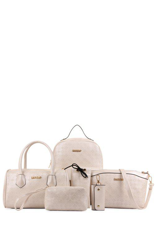 Trendy Buckles and Embossing Design Women's Satchel - OFF WHITE