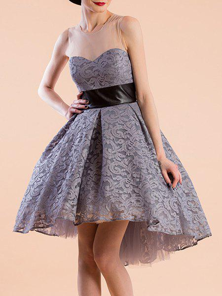 Sweet Women's Jewel Neeck Sleeveless Lace Ball Gown Dress - GRAY M
