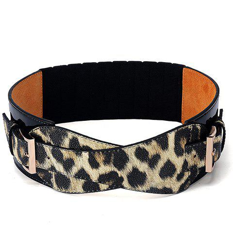 Chic Leopard Pattern Elastic Waistband For Women - YELLOW