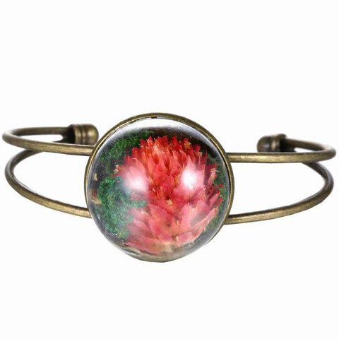 Vintage Glass Cover Dry Flower Cuff Bracelet For Women