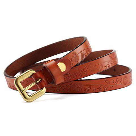 Chic Metal Buckle Printed Waist Belt For Women - BROWN
