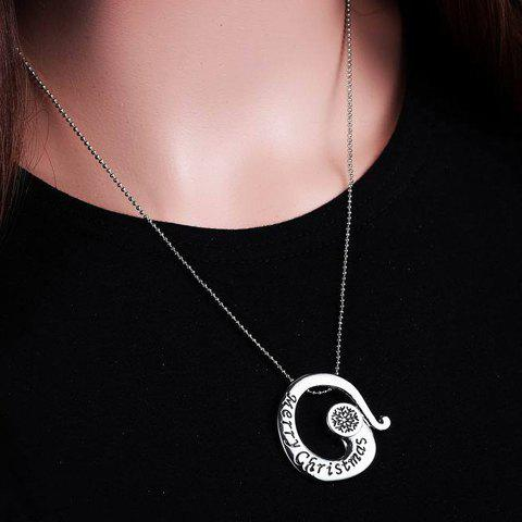 Stylish Merry Christmas Snowflake Pendant Necklace For Women - SILVER