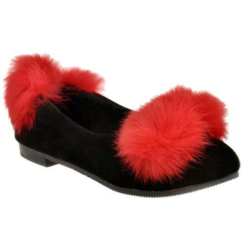 Sweet Artificial Fur and Flock Design Flat Shoes For Women - RED 37
