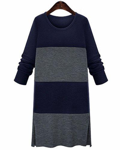 Casual Jewel Neck Long Sleeve Color Block Slit Midi Dress For Women - BLUE/BLACK 4XL