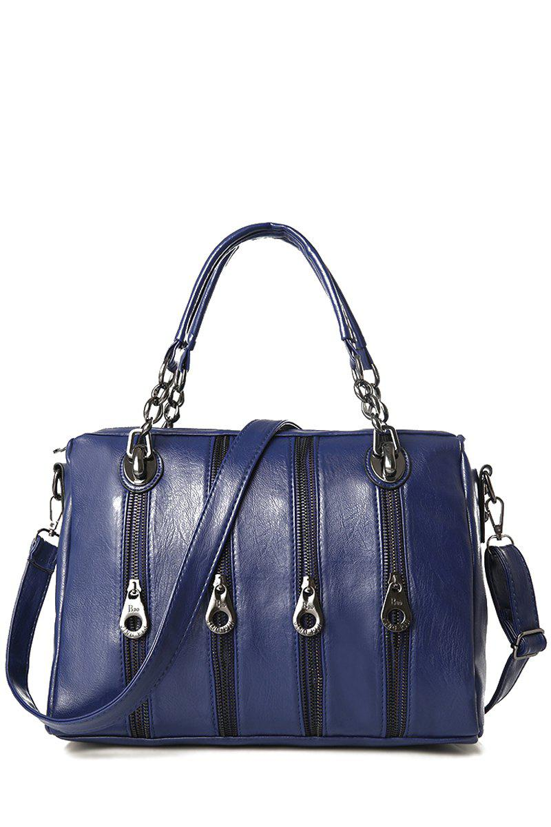 Stylish Zippers and Solid Color Design Women's Tote Bag - BLUE