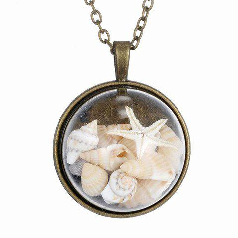 Vintage Glass Cover Starfish Pendant Sweater Chain For Women - BRONZE COLORED