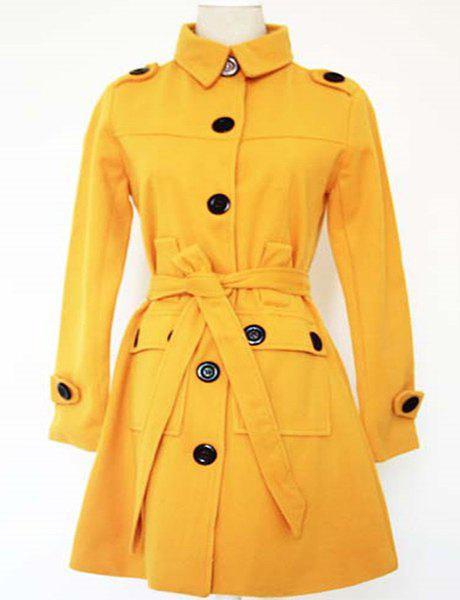 Trendy Candy Color Turn-Down Collar Buttoned Long Sleeve Coat For Women - YELLOW S