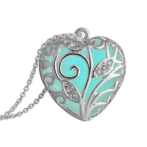 Rhinestone Peach Heart Hollow Out Luminous Necklace - SILVER