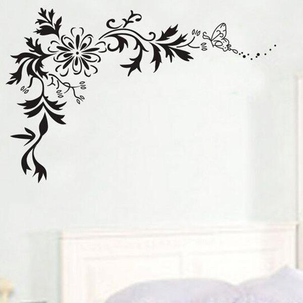 High Quality Black Butterfly Flower Rattan Pattern Removeable Waterproof Wall Sticker - BLACK