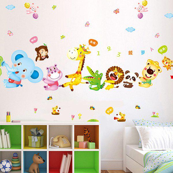 High Quality Cartoon Animal Pulling Radish Pattern Removeable Waterproof Wall Sticker - COLORMIX