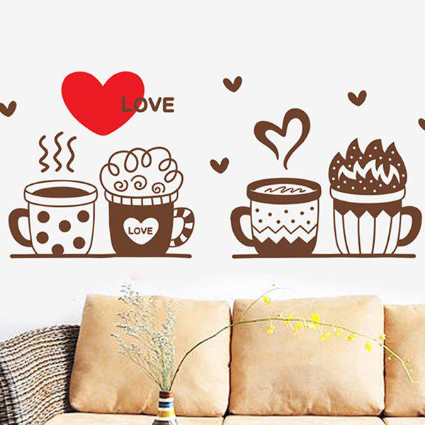 High Quality Mug Pattern Removeable Waterproof Wall Sticker - COLORMIX