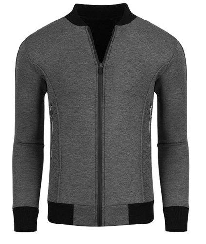 Slimming Hit Color Side Zipper Argyle Knurling Rib Spliced Stand Collar Long Sleeves Men's Jacket 161936810
