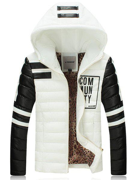 Fashion Long Sleeve Thicken Hooede Cotton-Padded Coat For Men - WHITE XL