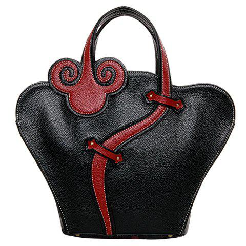 Color Block Stitching Handbag - BLACK