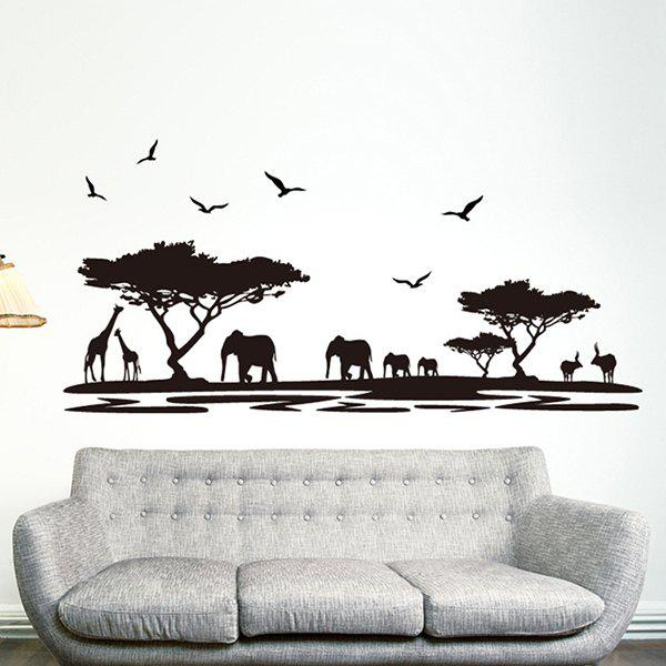 High Quality Black Animals Pattern Removeable Waterproof Wall Sticker - BLACK