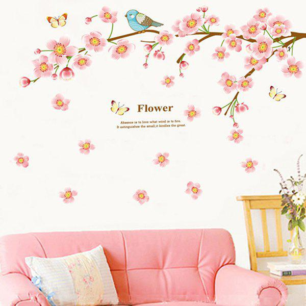 High Quality Peach Blossom Bird Pattern Removeable Waterproof Wall Sticker