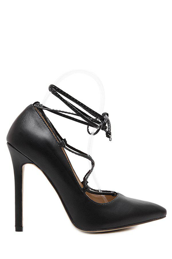 Stylish Criss-Cross and Pointed Toe Design Women's Pumps - BLACK 40