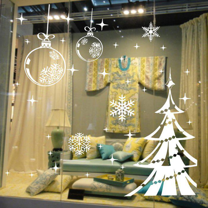 Christmas Tree and Snowflake Style Wallpaper Removable PVC Wall Stickers for Xmas Party Ornament fresh rural style watercolor maple leaf cotton and linen pillow case(without pillow inner)
