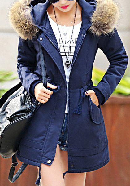 Trendy Long Sleeve Hooded Pocket Design Women's Padded Coat