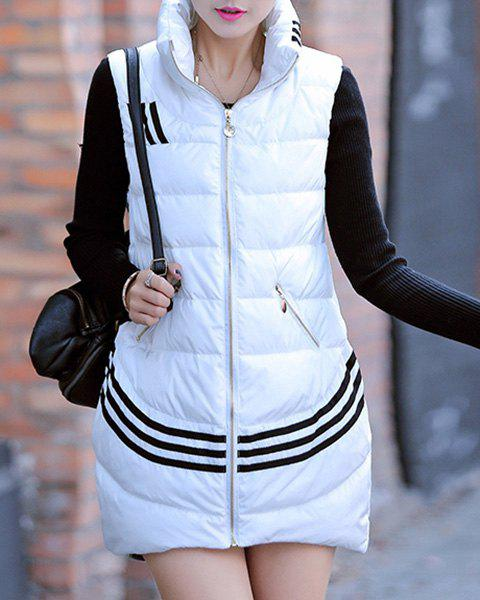 Chic Sleeveless Stand Collar Striped Women's Waistcoat - WHITE XL