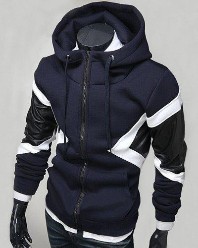 Hit Color PU Leather Spliced Triangle Pattern Front Pocket Drawstring Hooded Long Sleeves Men's Hoodie - CADETBLUE L