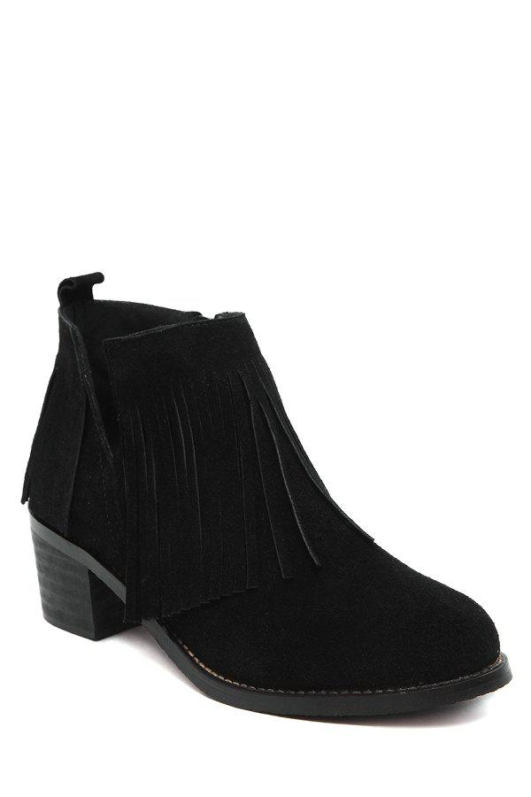 Stylish Fringe and V-Shape Design Women's Ankle Boots - BLACK 39