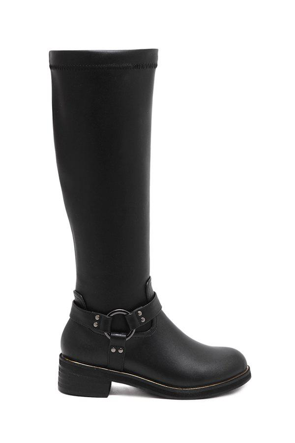 Trendy Metal and Black Design Women's Knee-High Boots - BLACK 39
