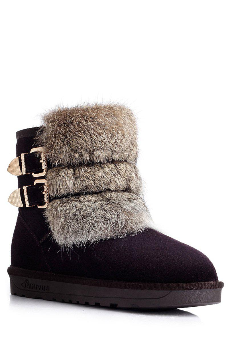 Trendy Buckles and Faux Fur Design Women's Snow Boots - CHOCOLATE 38
